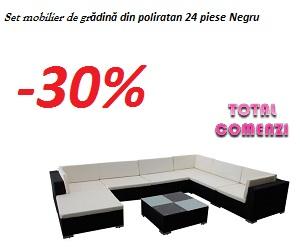 Campanie de reduceri Set mobilier de gradina din poliratan 24 piese Negru