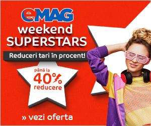 Campanie de reduceri Weekend Superstars la eMAG. Reduceri tari în procent, de până la 40%, la o mulțime de produse!