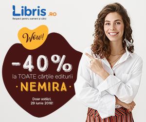 Campanie de reduceri WOW! -40% la TOATE cartile NEMIRA. Doar astazi!