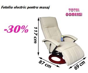 Campanie de reduceri Fotoliu de masaj electric, piele artificială, alb crem
