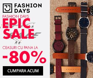 Campanie de reduceri Epic Sale - reduceri de pana la 80% la ceasuri barbati
