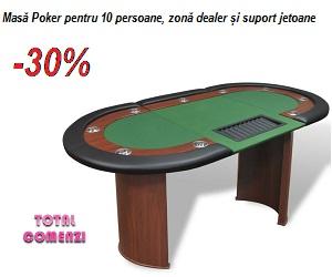 Campanie de reduceri Masă Poker pentru 10 persoane, zonă dealer și suport jetoane, Verde
