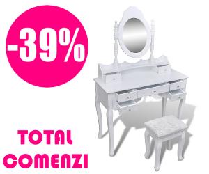 Campanie de reduceri Masă de toaletă cu oglindă și taburet, 7 sertare, alb