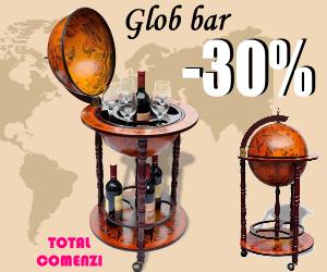 Campanie de reduceri Bar pentru sticle de vin, tip glob pământesc, lemn
