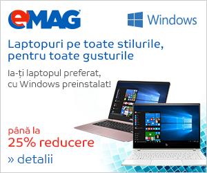 Campanie de reduceri Laptopuri cu Windows pana la 25% reducere, 23- 29.10.2018