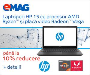Campanie de reduceri Laptopuri HP 15 cu procesor AMD Ryzen si placa video Radeon Vega, 23- 30.10.2018