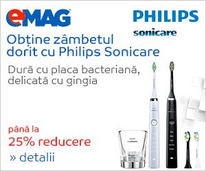 Campanie de reduceri Pana la 25% reducere gama de periute electrice Philips Sonicare
