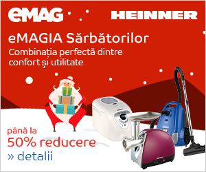 Campanie de reduceri eMAGIA - pana la 50% reducere la electrocasnicele mici Heinner