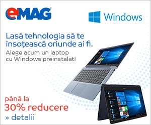 Campanie de reduceri Laptopuri cu Windows preinstalat, 04- 10.12.2018
