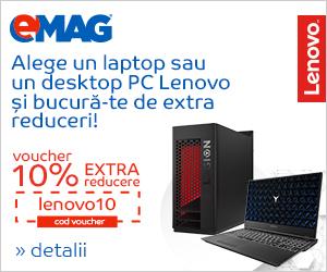 Campanie de reduceri Voucher 10% extra reducere la laptopurile si desktop PC-urile Lenovo, 24- 29.04.2019