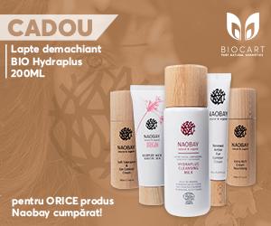 Campanie de reduceri Promotie produse cosmetice certificate organic Naobay 1+ 1 CADOU Gratis!