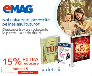 Campanie de reduceri Voucher 15% extra reducere carti, 24- 26.07.2019