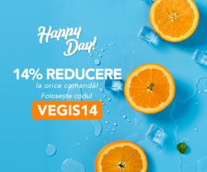 Campanie de reduceri Happy Day 14% REDUCERE la orice comanda