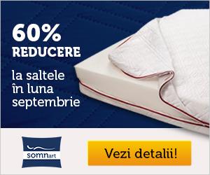Campanie de reduceri 60% reduceri la saltelele Somnart in luna septembrie