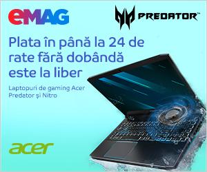 Campanie de reduceri Laptopuri Acer Predator si Nitro- sub umbrela campaniei de rate, 23- 30.10.2019