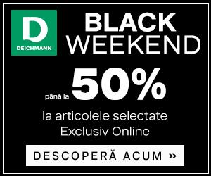 Campanie de reduceri Black Weekend - până la 50% reducere la o selecție de articole în Deichmann Online Shop