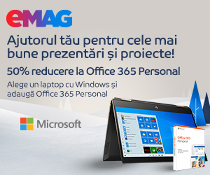 Campanie de reduceri 50% reducere la Office 365 cumparat impreuna cu un laptop cu Windows, 23- 30.12.2019