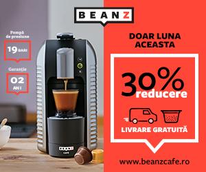 Campanie de reduceri 30% la espressoarele BeanZ Cafe si cafea cadou