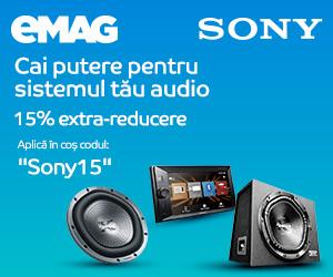 Campanie de reduceri Voucher  15% extra reducere car audio Sony, 18- 21.05.2020