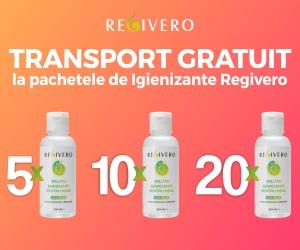Campanie de reduceri TRANSPORT GRATUIT la pachetele de Igienizant de maini REGIVERO