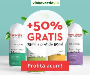 Campanie de reduceri +50% GRATIS (75ml la pret de 50ml) la Deodorantele Naturale TERRALURA