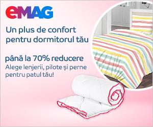 Campanie de reduceri Reducere de pana la 70% la lenjerii de pat, perne si pilote, 03- 31.08.2020